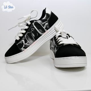 Black and White Graffiti Lace Sneakers